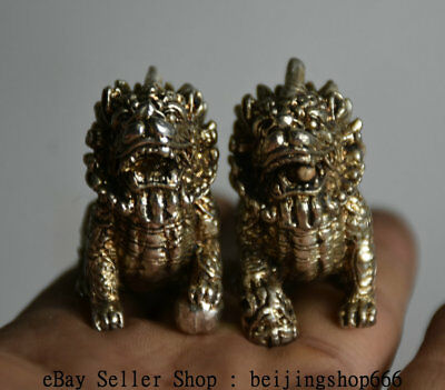 4cm Old Chinese Miao Silver Feng Shui Kylin Qilin Beast Statue Sculpture Pair