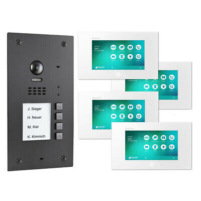 BALTER EVIDA Graphit RFID Edelstahl 2-Draht BUS Video Türstation 4x Monitor SET