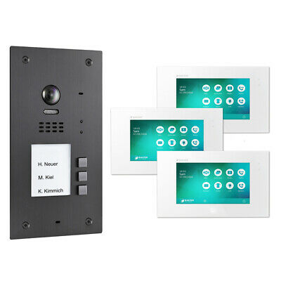 BALTER EVIDA Graphit RFID Edelstahl 2-Draht BUS Video Türstation 3x Monitor SET