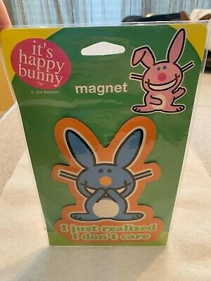 """Happy Bunny Magnet  """" I Just Realized I Don't Care """" New In Package  Jim Benton"""