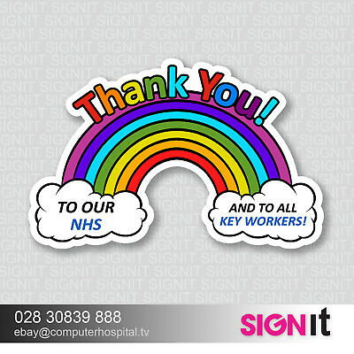 Rainbow Window Wall Sticker Thank You NHS And Key Workers Charity Support Decal
