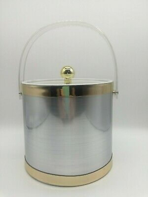 Vintage Mid Century Insulated Ice Bucket Silver Metallic Clear Lid Gold Acccents