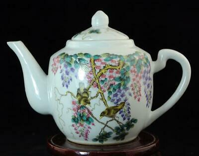Old Chinese Hand-Made Pastel Porcelain Hand Painted Birds & Flowers Teapot B02