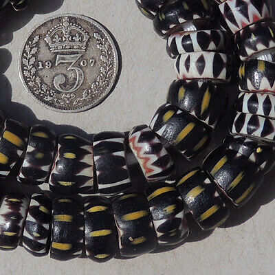 a strand and 12 loose venetian 4 layer small chevron african trade beads #1842