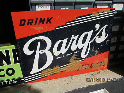 Barq's Root Beer Advertising Embossed Tin Sign 1950'S New Old Stock