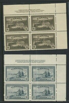 8x Canada Stamps 2x Plate Blocks #270-14c & #271-20c MNH VF Guide Value = $84.00