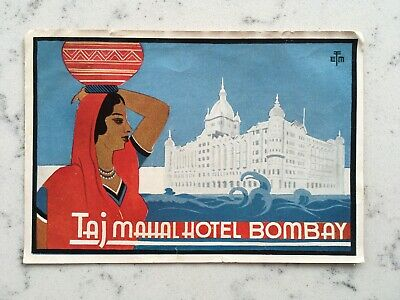 Vintage Taj Mahal Hotel Bombay India Luggage Decal Label Travel Sticker Tourist