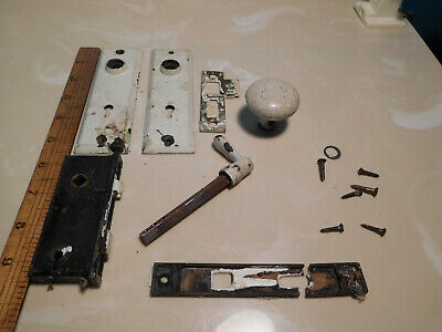Vintage Antique door or gate lock pieces, metal door knob & latch