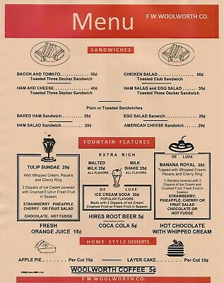 1951 F W Woolworth Lunch Counter Menu, 5¢, Coffee 10¢, Layer Cake Remastered