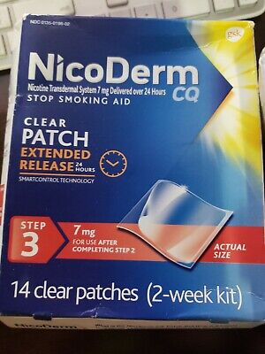 NicoDerm CQ Extended Relief Step 3 7 mg 14 Clear Patch EXP 2022