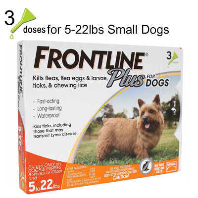 3 Doses Frontline Plus for Small Dogs(5-22lbs) Flea & Tick Control Treament