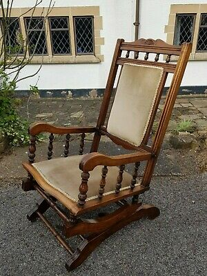 Antique Edwardian American Style Mahogany Rocking Chair Bobbin & Carved Detail