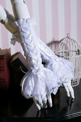 Mittens White Lace with Lacing Elegant Gothic Rq-bl