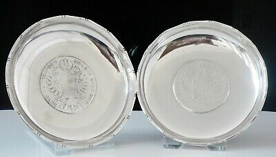 Pair of Chinese Export Silver Coin Dishes, WAI KEE,  1780 Maria Theresia Thaler