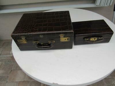Vintage Shortrip Genuine Leather Cowhide Luggage Suitcase Set