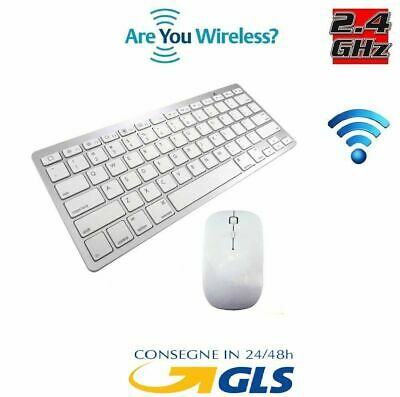Kit Tastiera Slim Mouse Ottico Wireless Senza Fili 2.4 Ghz Mini Keyboard Offert
