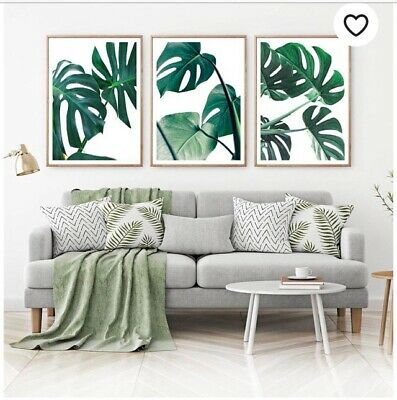 Three Tropical Palm Triple Prints Set Botanical Leaf  Wall Art Pictures Sign