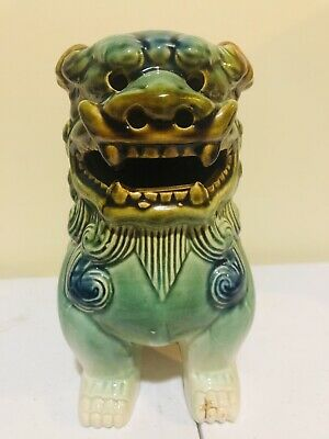Vintage Chinese Asian Glazed Ceramic Foo Dragon Dog Statue Green, Brown, White
