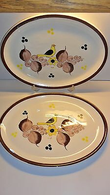 CEUN Jalisco Pair Oval Platter Mexico Vintage Yellow Bird Brown Pottery Ceramic