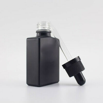 30 pack - 1oz / 30ml Black Frosted Glass Square Bottles with Droppers