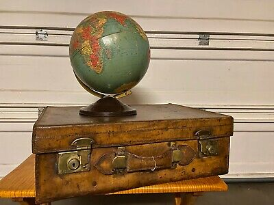 Antique World Globe and Heavy Leather Suitcase