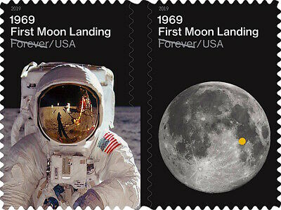 👀 1969:🌖First Moon Landing Sheet of 24USPS  Forever Postage Stamps 2019 Releas
