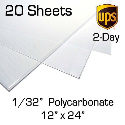 """POLYCARBONATE LEXAN CLEAR PLASTIC 0.010/"""" X 6/"""" X 12/"""" VACUUM FORMING 10 Pack"""