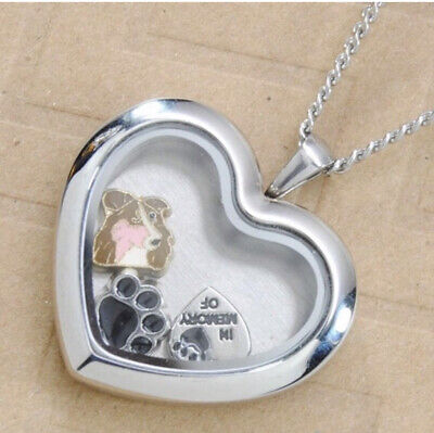 Border Collie Heart Memory Locket Necklace || Dog Keepsake Jewelry