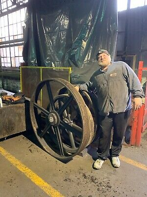 """Large 45"""" Antique Cast Iron Industrial Machine Shop Factory Gear Wheel Pulley"""