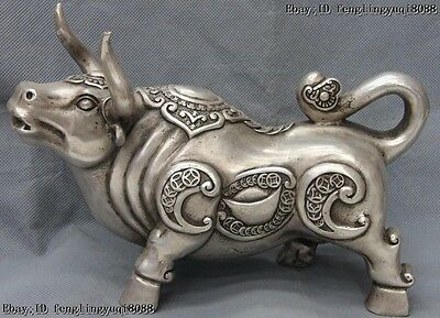 6 Chinese Copper Silver Zodiac Year Cow Cattle Bull Ox Oxen Bovine Animal Statue