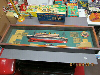 """Titanic 3D Wooden Shadow Box 31.5"""" Long Includes Ship And Clippings Near Mint"""