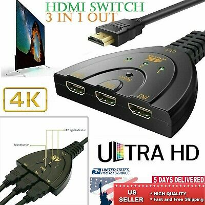 HDMI Cable 4K*2K Multi Switch Adapter Converter 3 In 1 Out Splitter Cable Cord