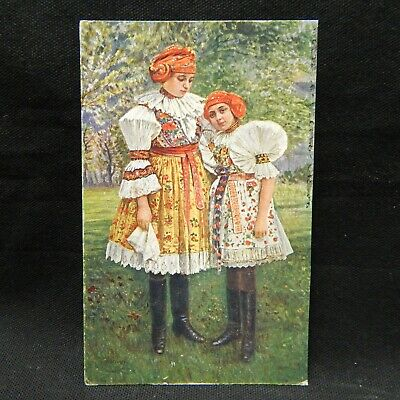 Postcard Young Czech Women In Traditional Clothing