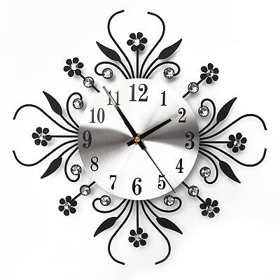3D Wall Clock Luxury Metal Diamonds Flower Silent Art Office House Decorate