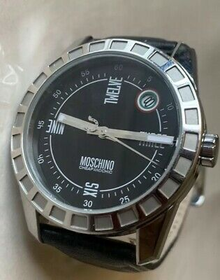 Mens Moschino Black Silver Style Water Proof Used Leather Band Designer Watch