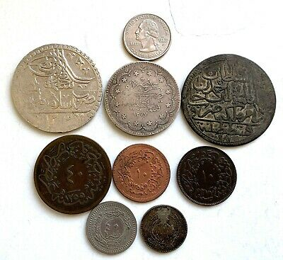 Turkey 8 Old Coins 3 Silver