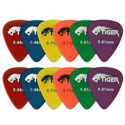 Tiger Guitar Plectrums - Pack of 12 Light to Medium Matte Quality Picks