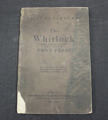 Antique The Whitlock Two Revolution Pony Press Illustrated List Of Parts