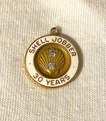 Shell Oil 30 Yr Service Charm 10k Gold & Diamonds