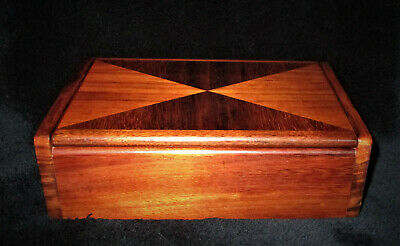 "Hawaii VINTAGE HAWAIIAN KOA WOOD JEWELRY BOX 8 3/4""L x 5 1/2""D x 3""T"