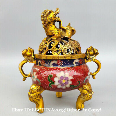 "6.8"" Collect Old China Bronze Cloisonne Enamel Pixiu Incense Burner Censer"