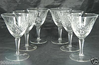 Vintage Cut Glass Or Crystal Wine/ Champagne 6 Glasses Cross/ Quilt Pattern