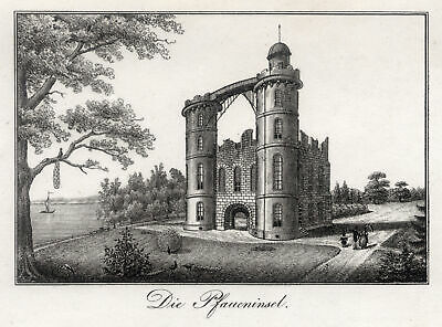 BERLIN PFAUENINSEL Original Lithografie Calau 1834
