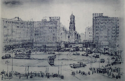 BERLIN ALEXANDERPLATZ - Original Lithografie Oskar Nerlinger 1951