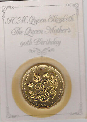 QUEEN ELIZABETH the QUEEN MOTHER 90TH Birthday Crown Coin Card Sealed ROYAL MINT