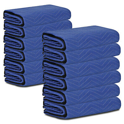 "12 Pack Moving Blankets 80"" x 72"" Pro Economy Quilted Furniture Pads Blue"