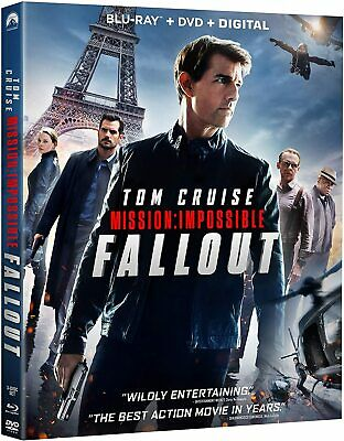 Mission: Impossible - Fallout (Blu-ray/DVD combo, 3 Disc set, 2018) w/slipcase