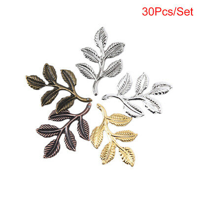 30pcs//set Leaf Filigree Wraps Connectors Metal Charm DIY Findings Jewelry Mak HV