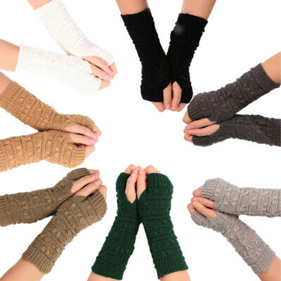 Fingerless Gloves Arm Warmers Winter Warm Knitted Mittens Xmas Gifts AccessoNWTS