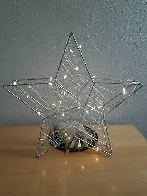 Led Light Up Free Standing Silver Star 30Cm